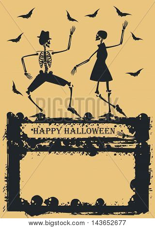 Halloween background with couple skeleton dancing. Elegant Skeleton on yellow background for your creative designs. Image Can be used for Halloween greeting cards, posters, banners and invitations.