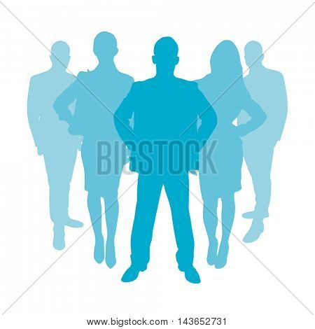 Business people group as a silhouette in color blue