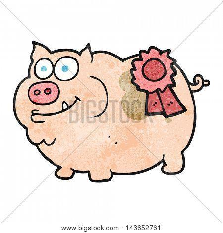 freehand textured cartoon prize winning pig