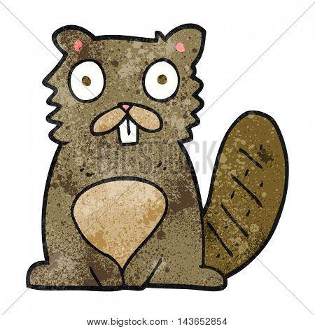 freehand textured cartoon beaver