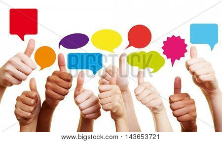 Success in communication with thumbs up and colorful speech bubbles