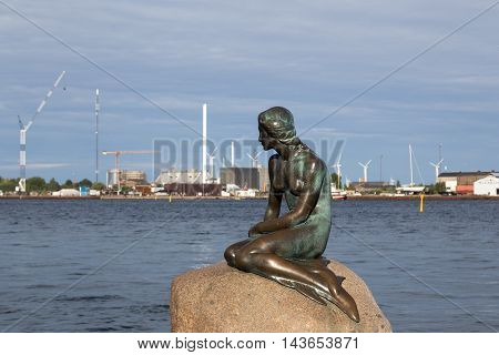 Copenhagen, Denmark - August 17, 2016: The famous Little Mermaid statue by artist Eddvard Eriksen
