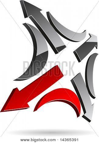 Glossy abstract symbol. Vector illustration.