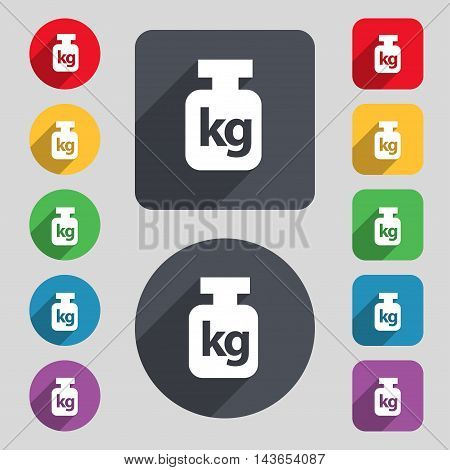 Weight Icon Sign. A Set Of 12 Colored Buttons And A Long Shadow. Flat Design. Vector