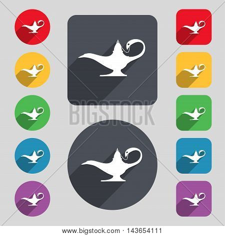 Alladin Lamp Genie Icon Sign. A Set Of 12 Colored Buttons And A Long Shadow. Flat Design. Vector