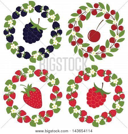 Vector wreath with blackberries strawberries cherries and raspberries