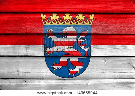 Flag Of Hesse With Coat Of Arms, Germany, Painted On Old Wood Plank Background