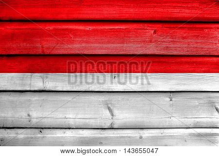 Flag Of Hesse, Germany, Painted On Old Wood Plank Background