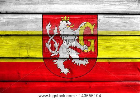 Flag Of Hradec Kralove With Coat Of Arms, Czechia, Painted On Old Wood Plank Background
