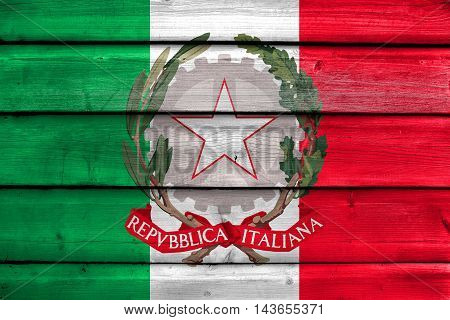 Flag Of Italy With National Emblem, Painted On Old Wood Plank Background