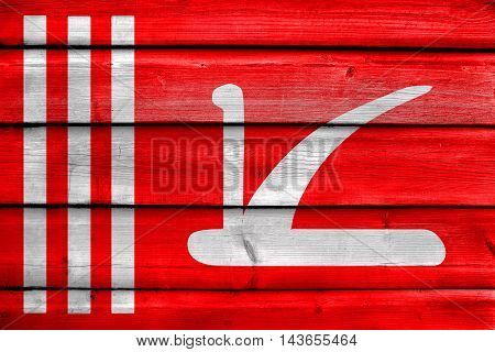 Flag Of Jammu And Kashmir, India, Painted On Old Wood Plank Background