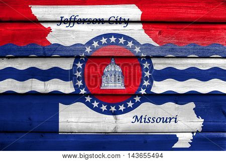Flag Of Jefferson City, Missouri, Usa, Painted On Old Wood Plank Background