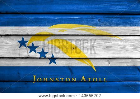 Flag Of Johnston Atoll, Usa, Painted On Old Wood Plank Background