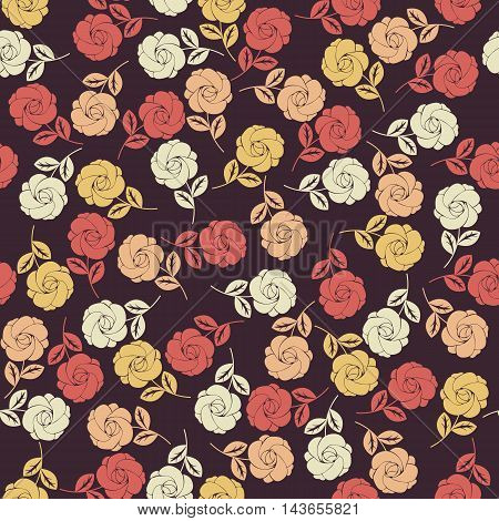 Endless pattern with colorful roses. Stylish template can be used for cover, design fabric, textile ,greeting card and more creative designs.