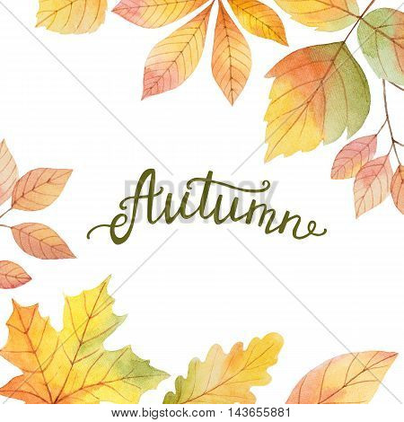 Autumn watercolor illustration with colored leaves and hand lettering on a white background. Ideal for design banners, leaflets, posters, cards with space for your text.