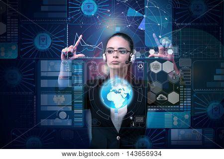 Woman in futuristic concept pressing buttons