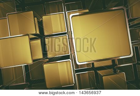 Abstract Golden Cube Screens 3D Illustration. 3D Abstraction.