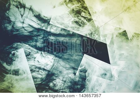 Digital Fusion Abstract Background. Smoke and Liquid Fusion Theme. Techno Backdrop.