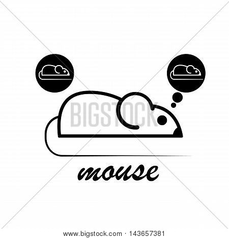 Stylish icon of a white mouse for web and print. Minimalistic symbol of the home of a rodent mouse or rat black and white vector illustration