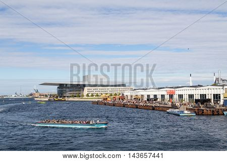 Copenhagen, Denmark - August 17, 2016: View of the harbor with the opera and paper island