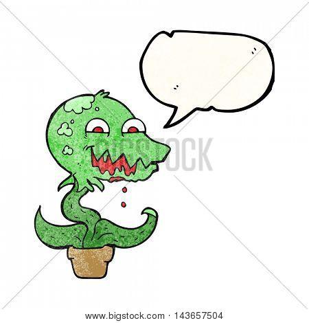 freehand drawn texture speech bubble cartoon monster plant