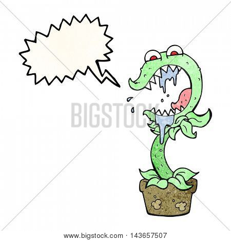 freehand drawn texture speech bubble cartoon carnivorous plant