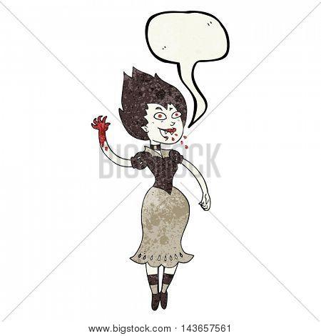 freehand speech bubble textured cartoon blood sucking vampire girl