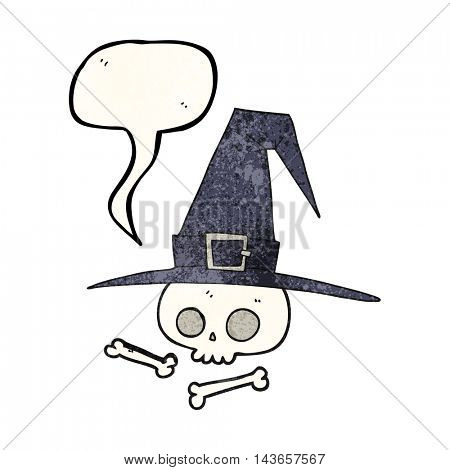 freehand speech bubble textured cartoon witch hat with skull