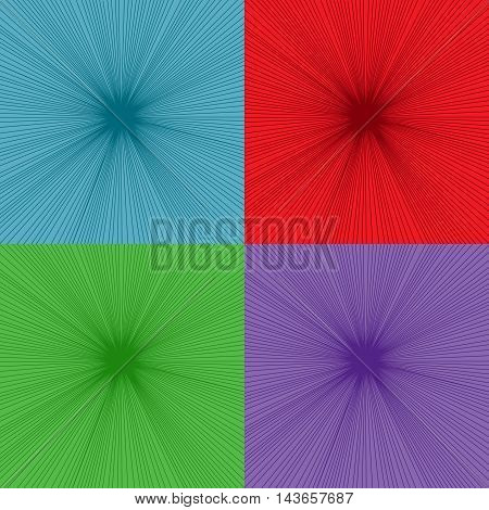 Set of comic explosion backgrounds. Four sunbursts in blue, red, green and purple colors. Pop-art style