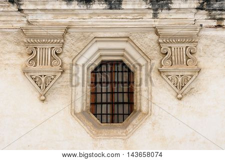 Old decorated window in the Antigua town in Guatemala Central America