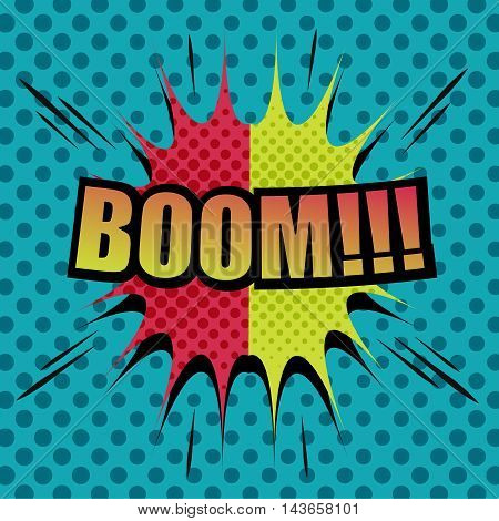 Boom comic cartoon. Pop-art style. Vector illustration with title, blot, sound effects and halftone background. Template for web and mobile applications