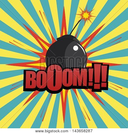 Comic book bomb explosion with boom text, blot and radial background. Cartoon illustration in pop-art style