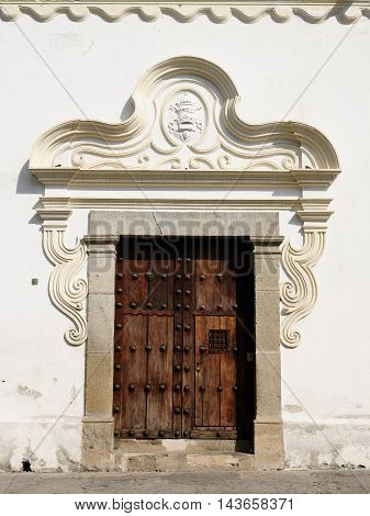 Old door in the Antigua town in Guatemala Central America
