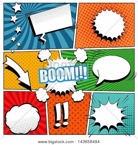 Comic book background. Vector illustration with speech bubbles, arrow, stars, blots, sound and halftone effects, funny radial and dotted backgrounds. Pop-art style.