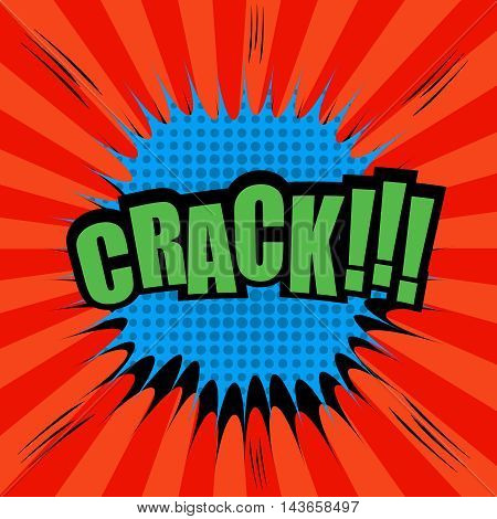 Crack comic bubble text. Pop-art style. Blue blot with halftone and sound effects on red funny spiral background. Template for web and mobile applications