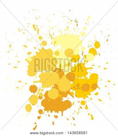 Vector blots yellow background. Blobs and splashes of paint.