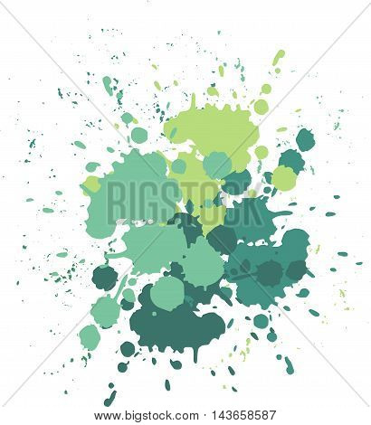Blobs and splashes of paint. Color green splashes background Vector illustration