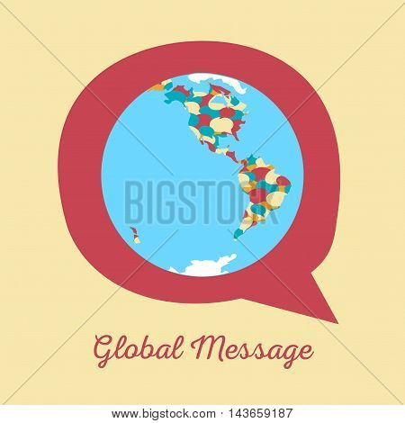 Global message concept. Vector illustration of earth globe with continents formed by chat clouds of bright colors on messaging icon fr network communication international talk globalization.