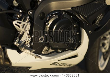 NOVI SAD SERBIA - JUNE 8 2016: Detail of the Suzuki GSX-R600 motorcycle in Novi Sad Serbia. Suzuki GSX-R600 is a 600 cc class supersport sport bike in Suzuki GSX-R series of motorcycles