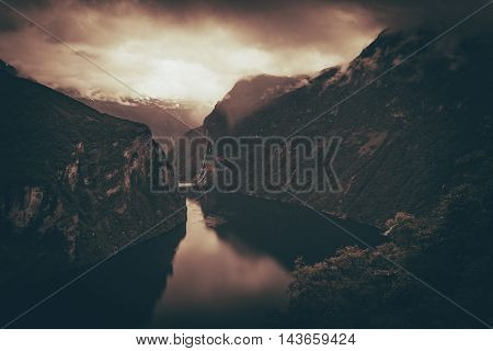 Scenic Norway Fjords in Dark Sepia Color Grading. Norway Scenery.
