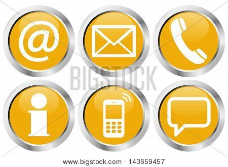 Six Contact Us Icons Button Set
