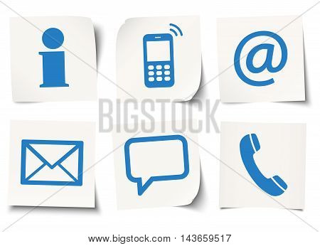 Six Contact Us Icons On Sticky Notes