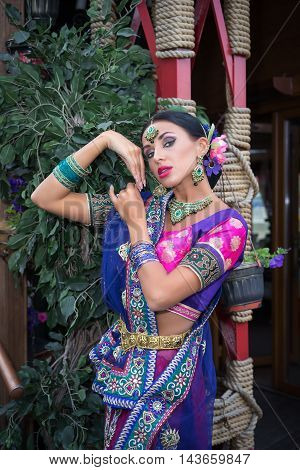 Beautiful young indian woman in traditional clothing