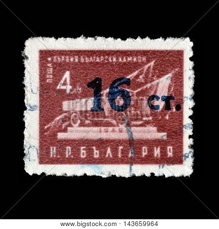 BULGARIA - CIRCA 1955 : Cancelled postage stamp printed by Bulgaria, that shows truck.
