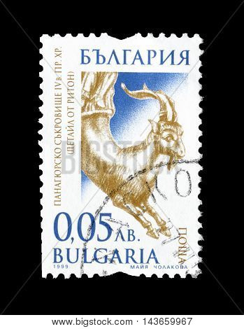 BULGARIA - CIRCA 1999 : Cancelled postage stamp printed by Bulgaria, that shows gold artifact.