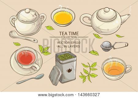 Vector set with cups teapot sugar bowl tin packaging and tea strainer on color background