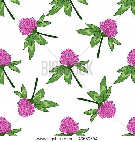 Clever trefoil vector seamless pattern green pink