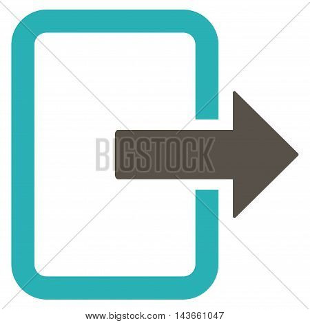 Exit Door icon. Vector style is bicolor flat iconic symbol with rounded angles, grey and cyan colors, white background.