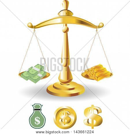 Scales of Justice symbolizing the measure of a cases support and opposition in a court of law. Scales of Justice vector. Illustration Scales of Justice. with dollar money and gold