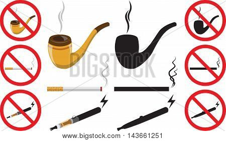 Smoking silhouette vector icons collection. Cigarette, cigars, habit icons. Cigars vector set, tobacco, nicotine. Health problems, smoke tools, prohibited